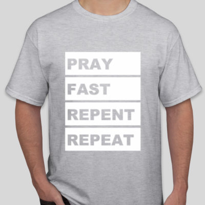 spiritual workout ash gray t-shirt